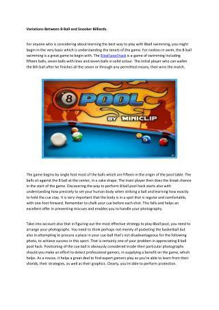 Variations 8 ball pool