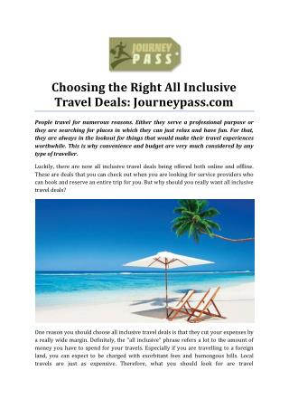 Choosing the Right All Inclusive Travel Deals: Journey Pass