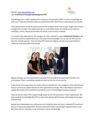 Best Human Resource (HR) Management PPT - Kamyabology.com