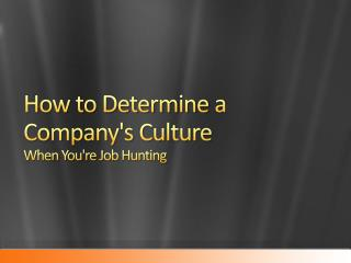 How To Determine A Company's Culture When You're Job Hunting