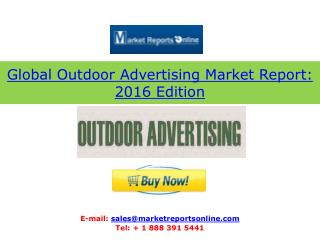 Outdoor Advertising Industry Forecasts to 2019