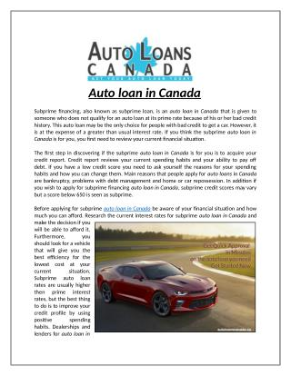 Auto Loans in Canada
