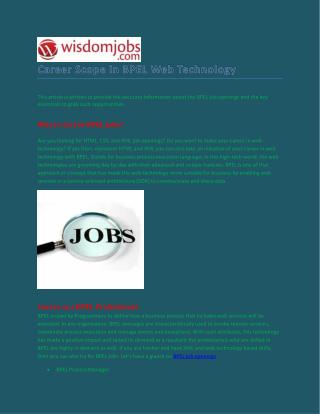 Grow Your Career in BPEL Sector - Wisdomjobs