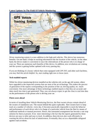Latest Updates In The Field Of Vehicle Monitoring