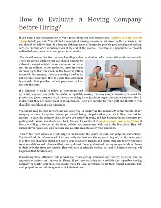 How to Evaluate a Moving Company before Hiring?