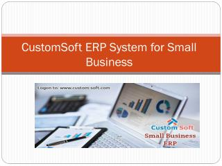 CustomSoft ERP System for Small Business