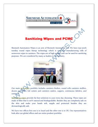 Sanitizing Wipes and PCMC