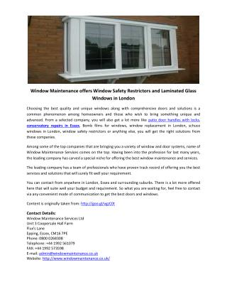 Window Maintenance offers Window Safety Restrictors and Laminated Glass Windows in London
