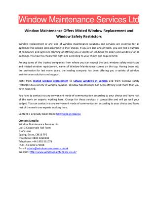 Window Maintenance Offers Misted Window Replacement and Window Safety Restrictors