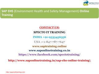 online training on sap ehs | sap ehs training in usa
