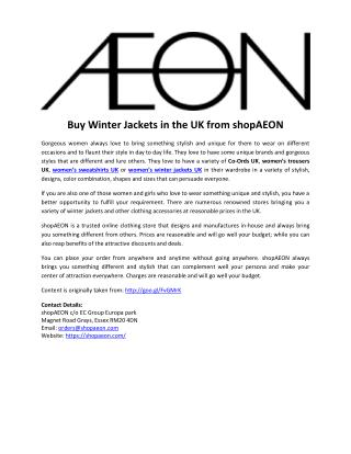 Buy Winter Jackets in the UK from shopAEON