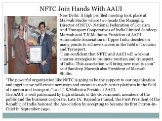 NFTC Join Hands With AAUI