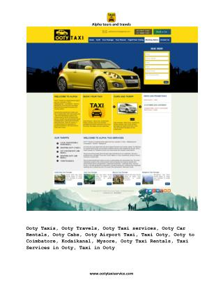 Ooty Taxi services, Ooty Taxi Booking, Taxi in Ooty