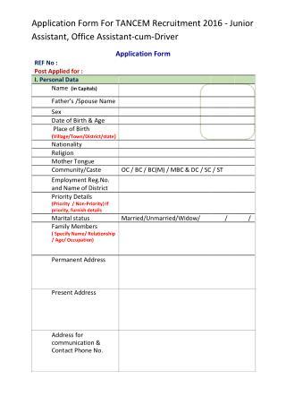 Application Form for TANCEM Recruitment 2016 - Junior Assistant, Office Assistant-cum-Driver