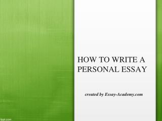 How to write a Personal Essay