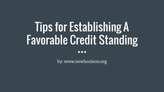 Tips for Establishing A Favorable Credit Standing