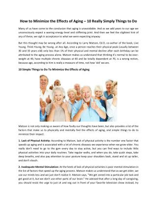 How to Minimize the Effects of Aging - 10 Really Simply Things to Do - Special Touch Living
