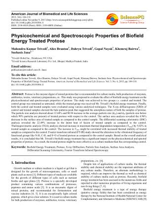Spectroscopic Characterization of Biofield Treated Protose