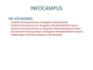 Android Training Institutes In Bangalore Marathahalli