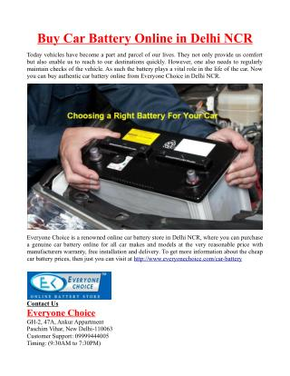 Buy Car Battery Online in Delhi NCR