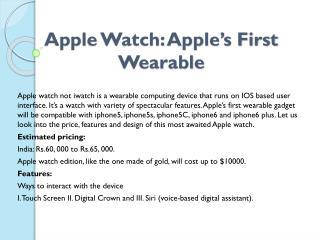Apple Watch: Apple�s First Wearable