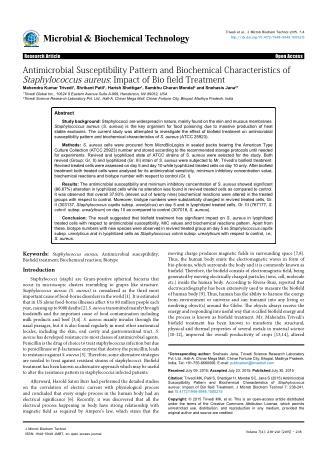 Biochemical Characteristics of Staphylococcus aureus