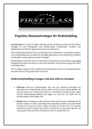 Populära Hemmaövningar för Bodybuilding