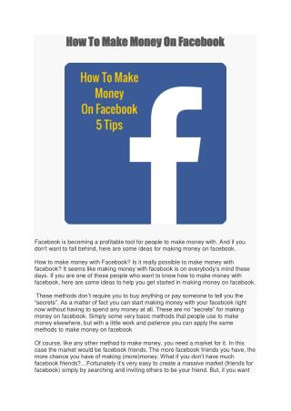 How To Make Money On Facebook-5 Tips