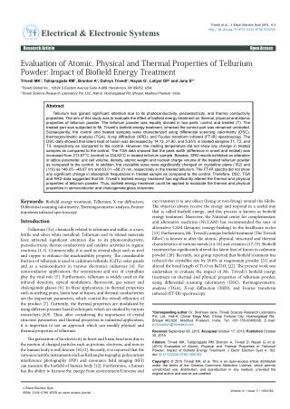 Evaluation of Atomic, Physical and Thermal Properties of Tellurium Powder: Impact of Biofield Energy Treatment
