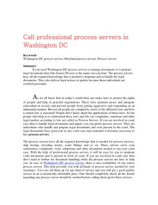 Call professional process servers in Washington DC