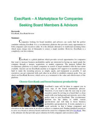 ExecRank – A Marketplace for Companies Seeking Board Members & Advisors