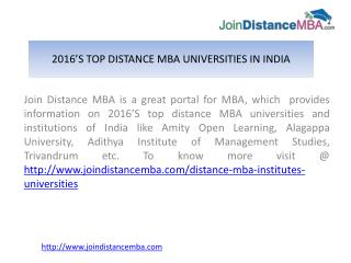 2016's Updated List of Top Distance MBA Universities in India