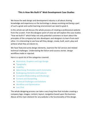 """""""This Is How We Built It"""" Web Development Case Studies"""