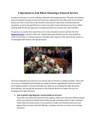3 Questions to Ask When Choosing a Funeral Service