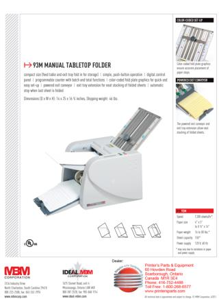 MBM 93M Tabletop Folder by Printfinish.com