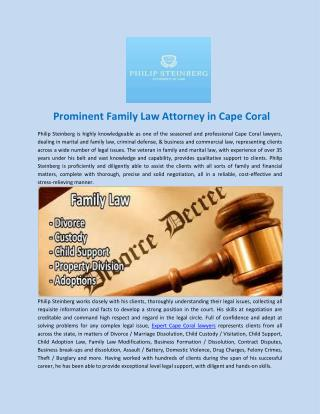 Prominent family law attorney in Cape Coral
