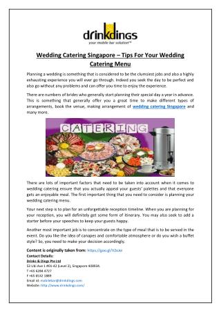 Wedding Catering Singapore – Tips For Your Wedding Catering Menu