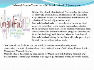 Marwah Studio Venue For 4th Global Festival Of Journalism