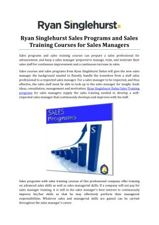 Ryan Singlehurst Sales Programs and Sales Training Courses