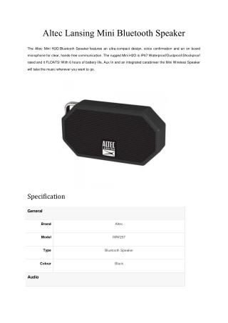 Altec Lansing IMW257 Mini H2O Bluetooth Speaker (Black)