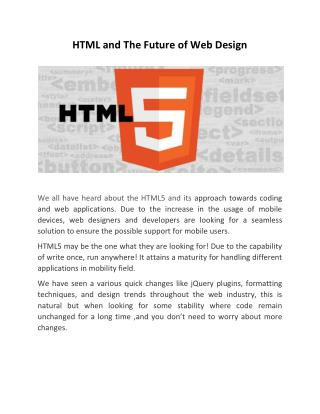 HTML and The Future of Web Design