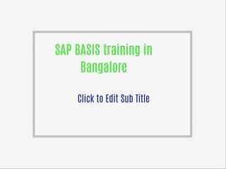 SAP BASIS training in Bangalore