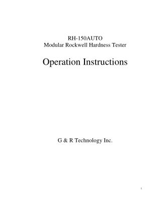 Operation Instructions of Rockwell Hardness Tester RH-150AUTO