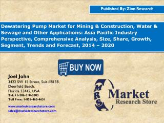Dewatering Pump Market forecast from 2015 to 2020 based on revenue (USD million).