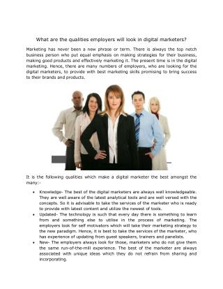 What are the qualities employers will look in digital marketers?