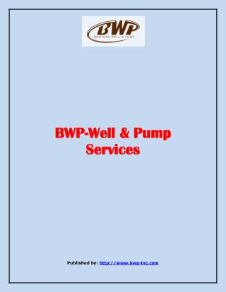 Well & Pump Services