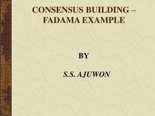 CONSENSUS BUILDING   FADAMA EXAMPLE
