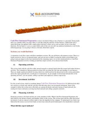 GLG Accounting | Comprehensive Cash Flow Statement Preparation
