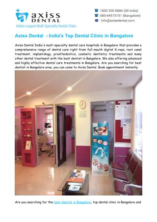 Top Dental Clinic in Bangalore – Best Dentist in Bangalore