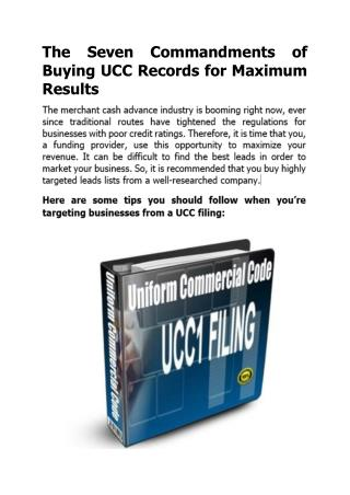 The Seven Commandments of Buying UCC Records for Maximum Results